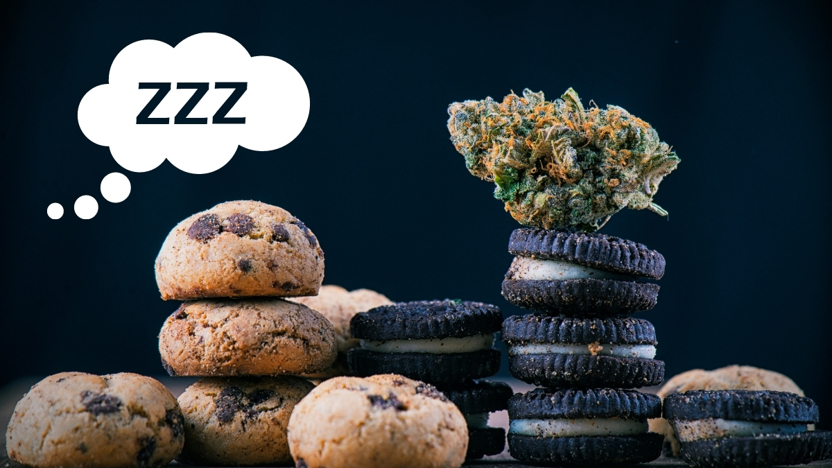 """a photo of chocolate chip cookies and oreros with a cannabis nug on top of them. a cloud with """"zzz"""" is next to them"""