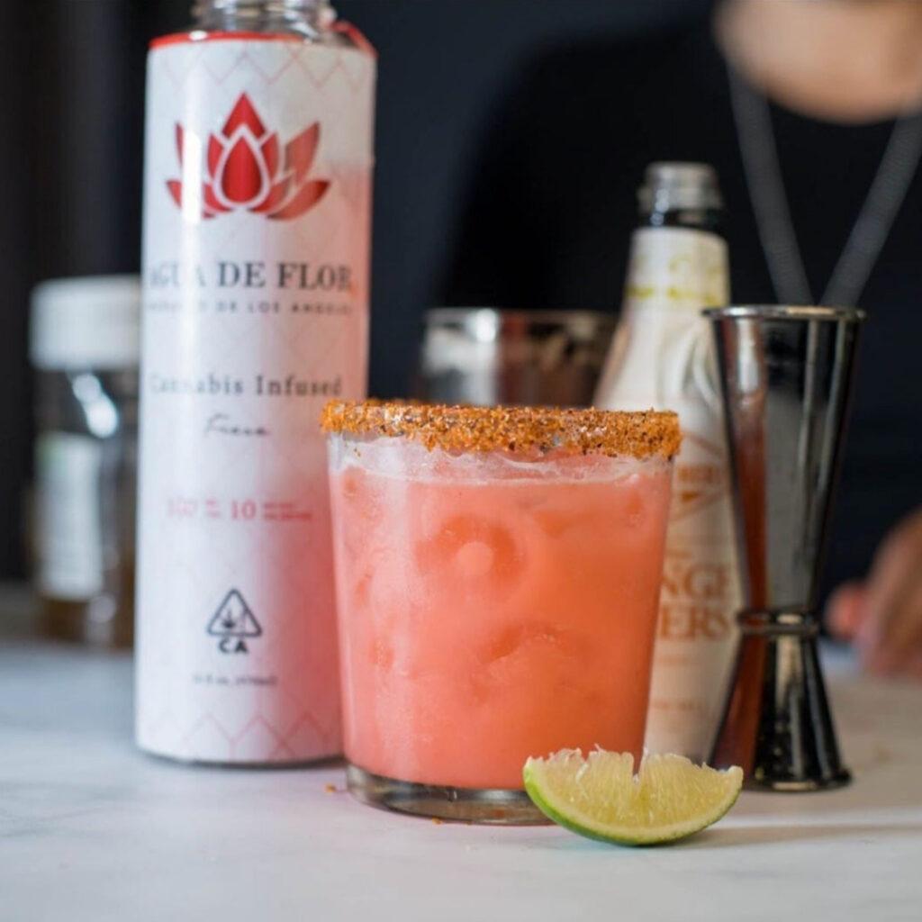 A photo of the fresa-rita cinco de mayo mocktail made with Agua De Flor
