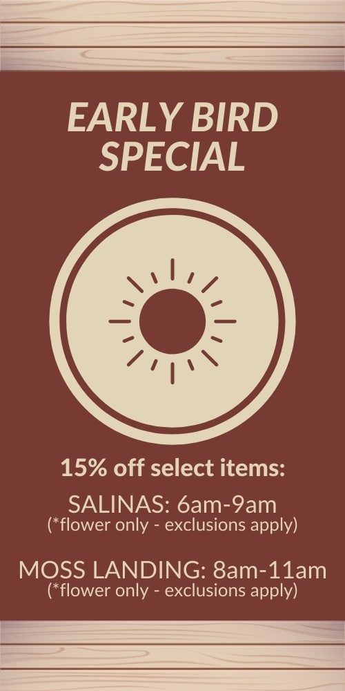 early bird special - 15% off select items