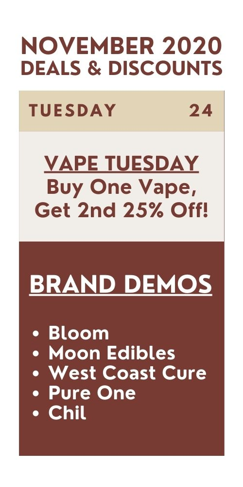 vape tuesday - buy 1 vape, get 2nd 25% off